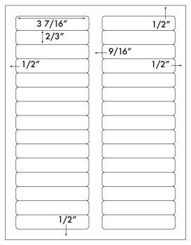 "File Folder Label 3-7/16""x2/3"" Uncoated Perm White, 1500labels"