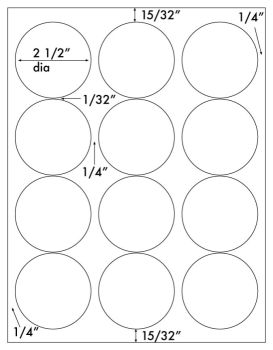 """Circle Label 2-1/2"""" Round Uncoated Perm White, 600labels"""