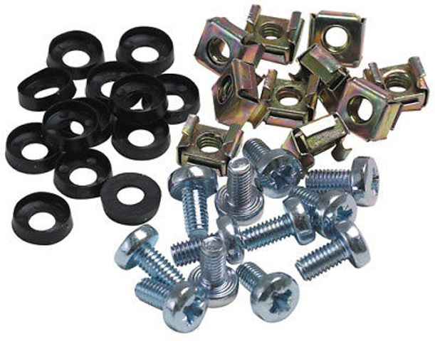 M6 Screws w/washers and cage nuts 50pk