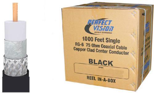 RG6/U CCS 18AWG UL CM Coax 1000Ft 60% AL Braid Black