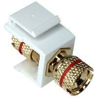 Keystone Jack - Banana Jack w/Red Ring (Screw Type) - White