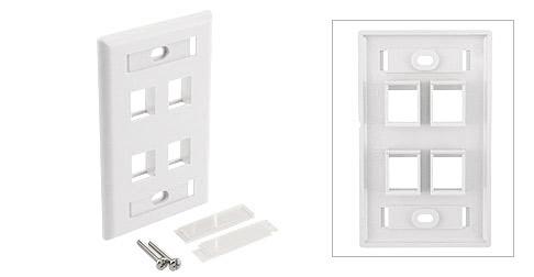 4 Port Keystone Jack Wall Plate - White